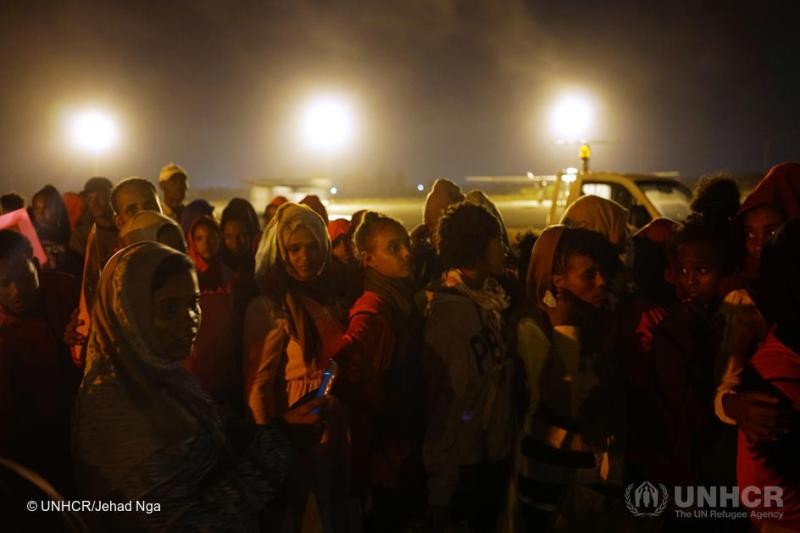 Libya. Evacuees from a Libyan detention center are transported to Niger